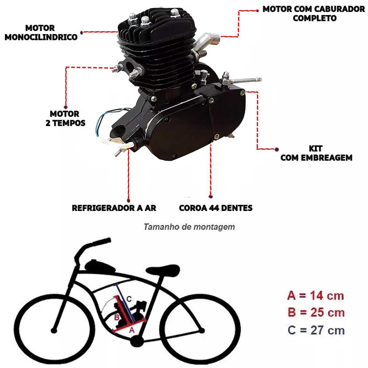 Motor para Bicicleta 2 Tempos Bike Motorizada 80cc 3hp / 5000 Rpm kit Completo Moskito a Gasolina Bicimoto Monocilíndrico