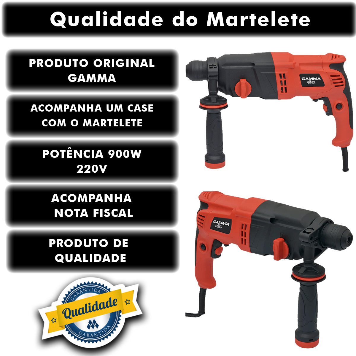 Martelete Gamma Elite 900w Perfurador Rotativo Rompedor 220v Poliparts