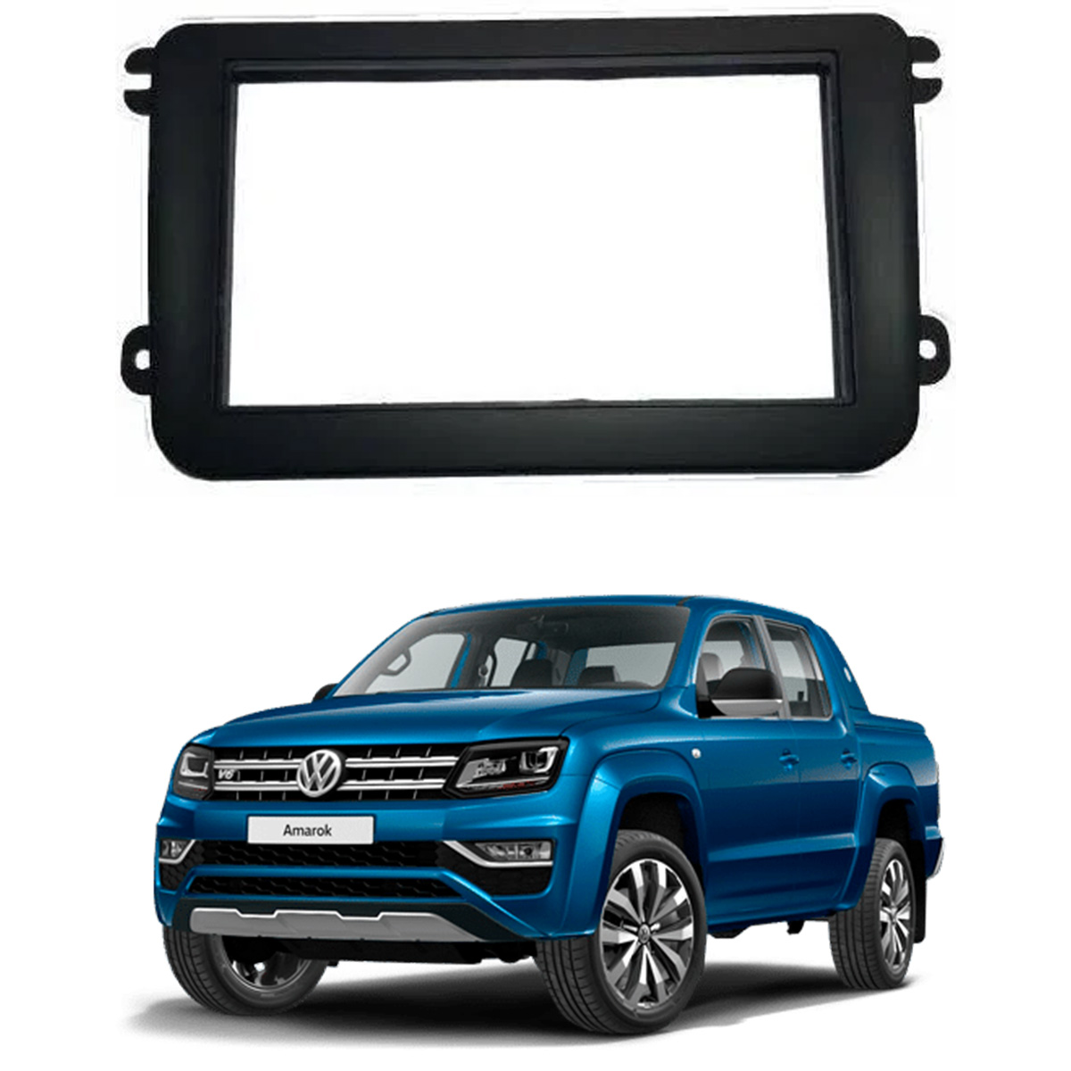 Moldura Volkswagen Amarok 2017 a 2021 9 Polegadas 2 Din Preto Fosco Poliparts
