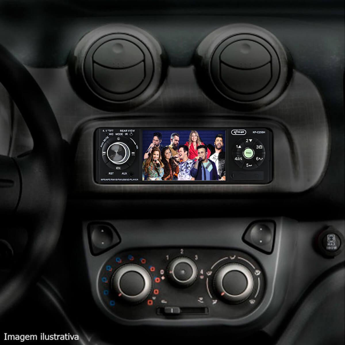 Som Automotivo Knup Mp5 com Bluetooth Tela de 4,1 Polegadas Atendimento Celular Usb Sd Fm Auxiliar Poliparts