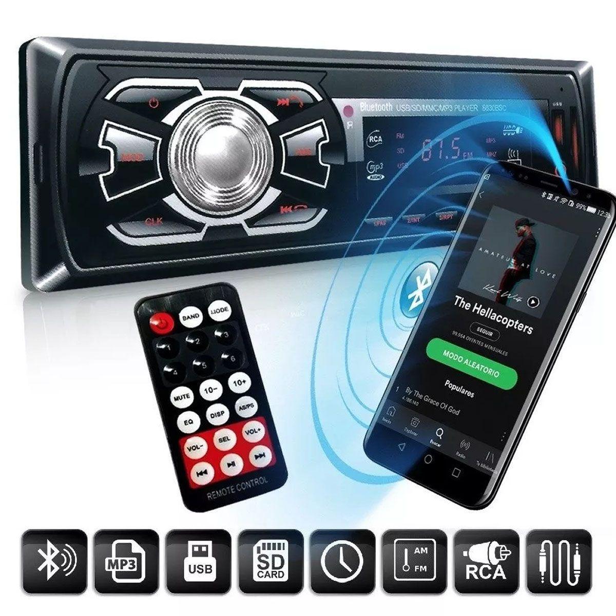 Som Automotivo First Option Preto com Bluetooth Atendimento Celular Usb Sd Mp3 Player Fm Auxiliar 1 Din Universal Poliparts