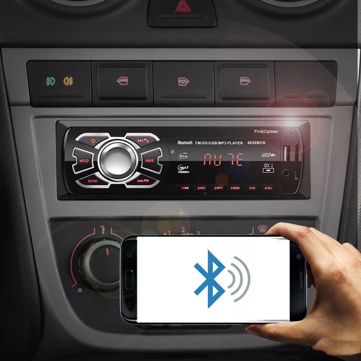 kit som automotivo com Bluetooth atendimento celular usb sd mp3 player toca fm p2 first option 6660BSC Universal Completo para Carro preto Rca Viva Voz 4x25W Apare 1 din