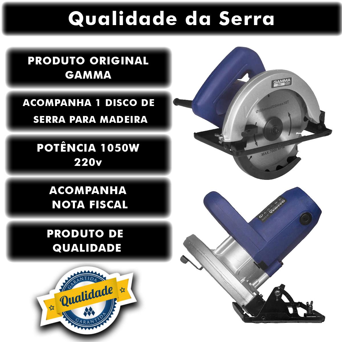 """Serra Circular Gamma Elétrica Hobby 1050 Watts 7.1/4"""" 185mm 220v GH1301/BR1 Poliparts"""