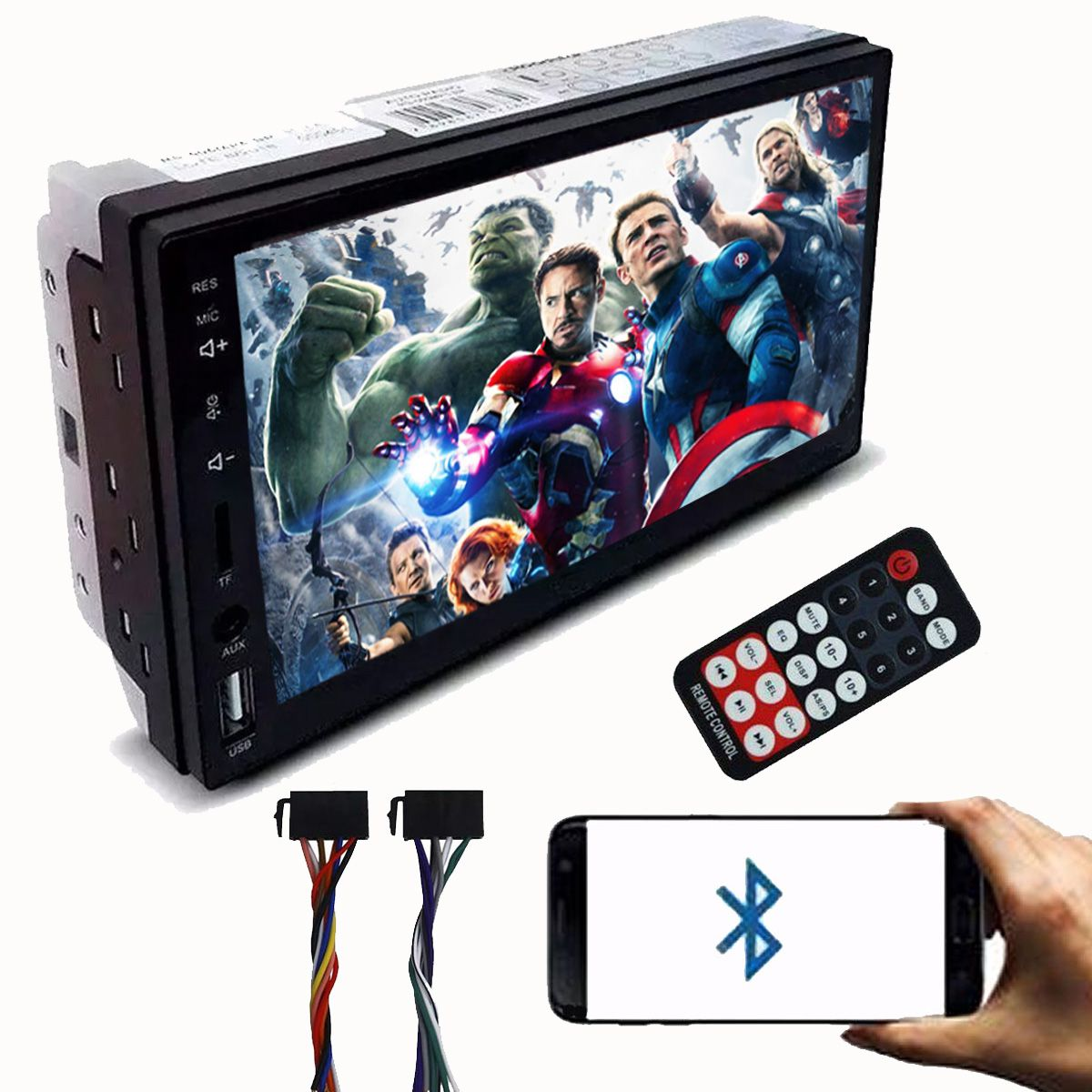Central Multimidia First Option com Bluetooth Mp5 Player Usb Sd Auxiliar 2Din 7 Polegadas Universal Poliparts