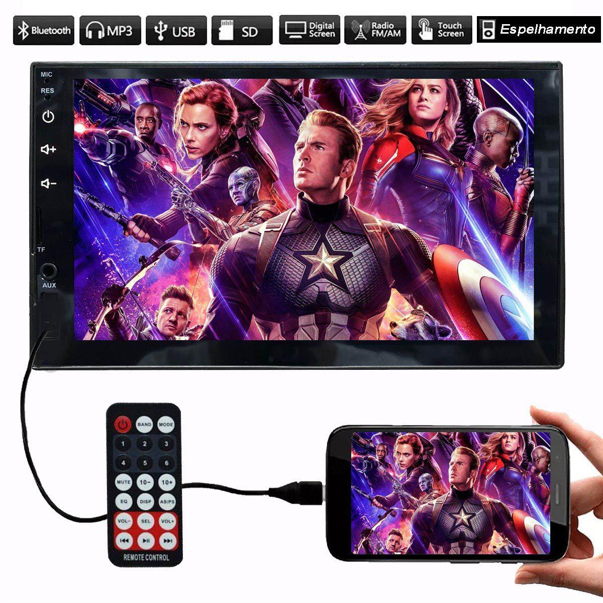 Som Multimidia First Option Mp5 Player 2Din 7 Polegadas Universal Espelhamento Celular Bluetooth Usb Sd Carro Automotivo Aparelho