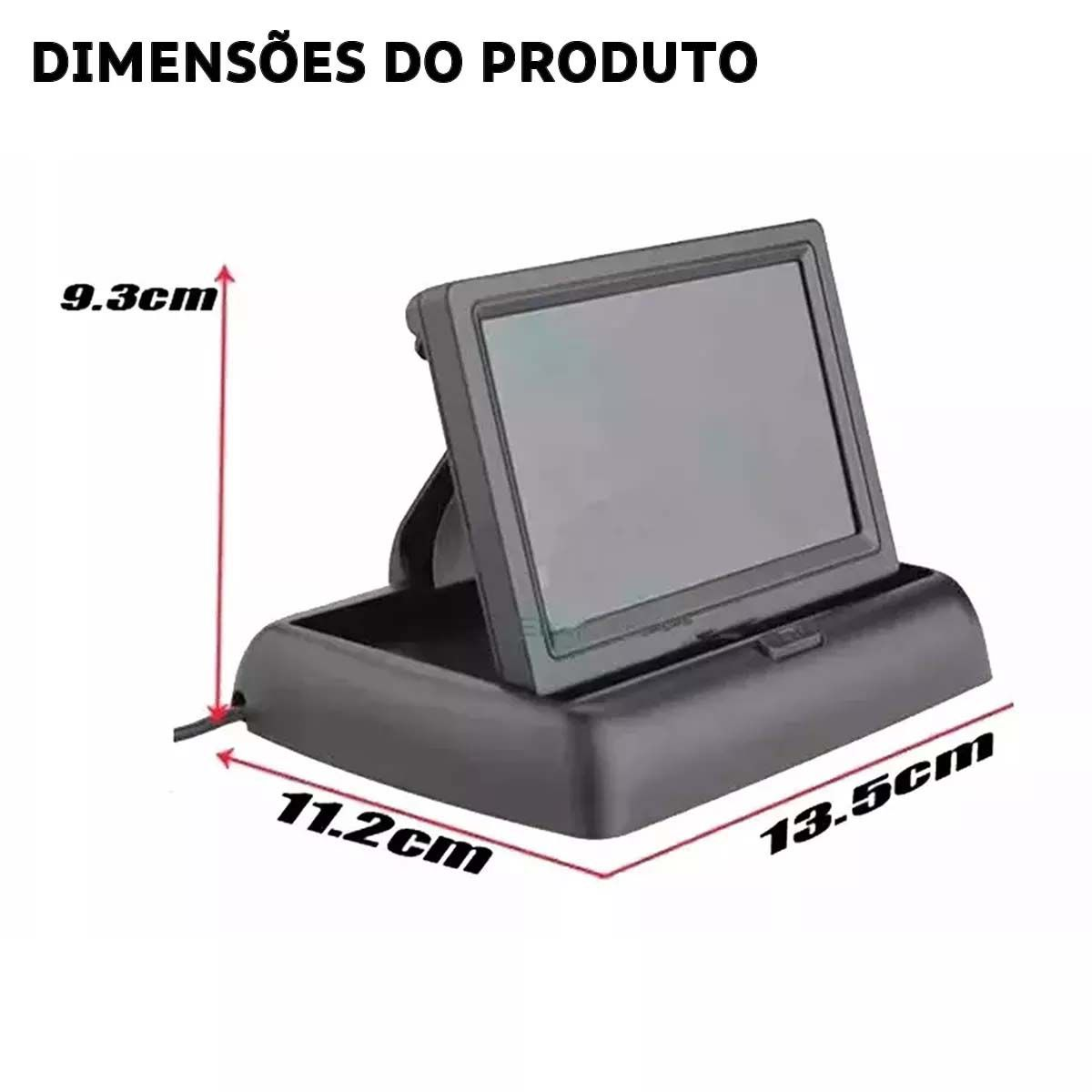 Tela Monitor LCD 4.3 Portátil Colorido Retrátil Automotivo Com Câmeras de Ré Segurança Auxiliar Estacionamento Veicular para Transporte Escolar, Ônibus, Van, Caminhões e Carros (Todos)