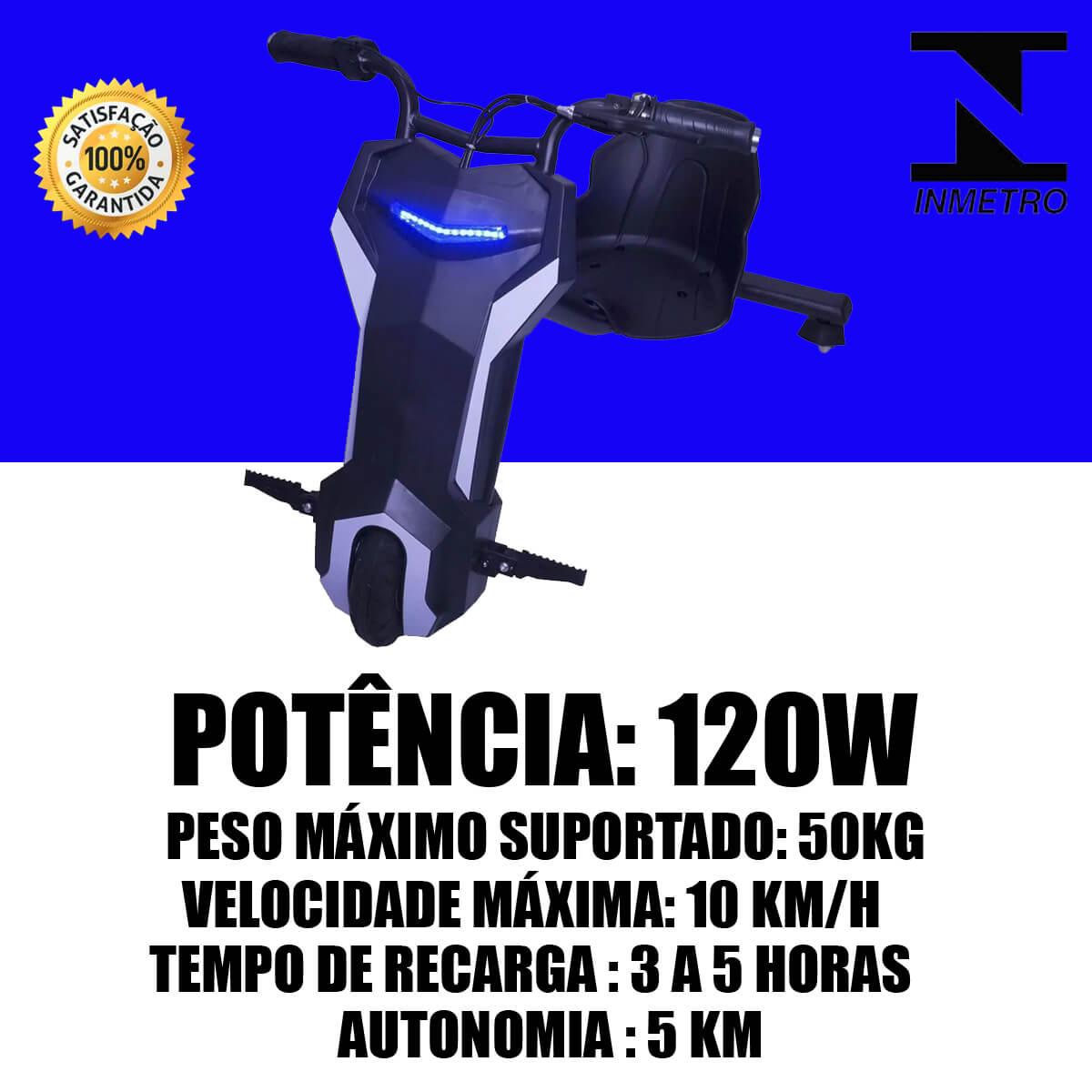 Triciclo Infantil Eletrico Drift Scooter 120W Potência Autonomia 5 Km/h Com Freio Dianteiro Importway Preto