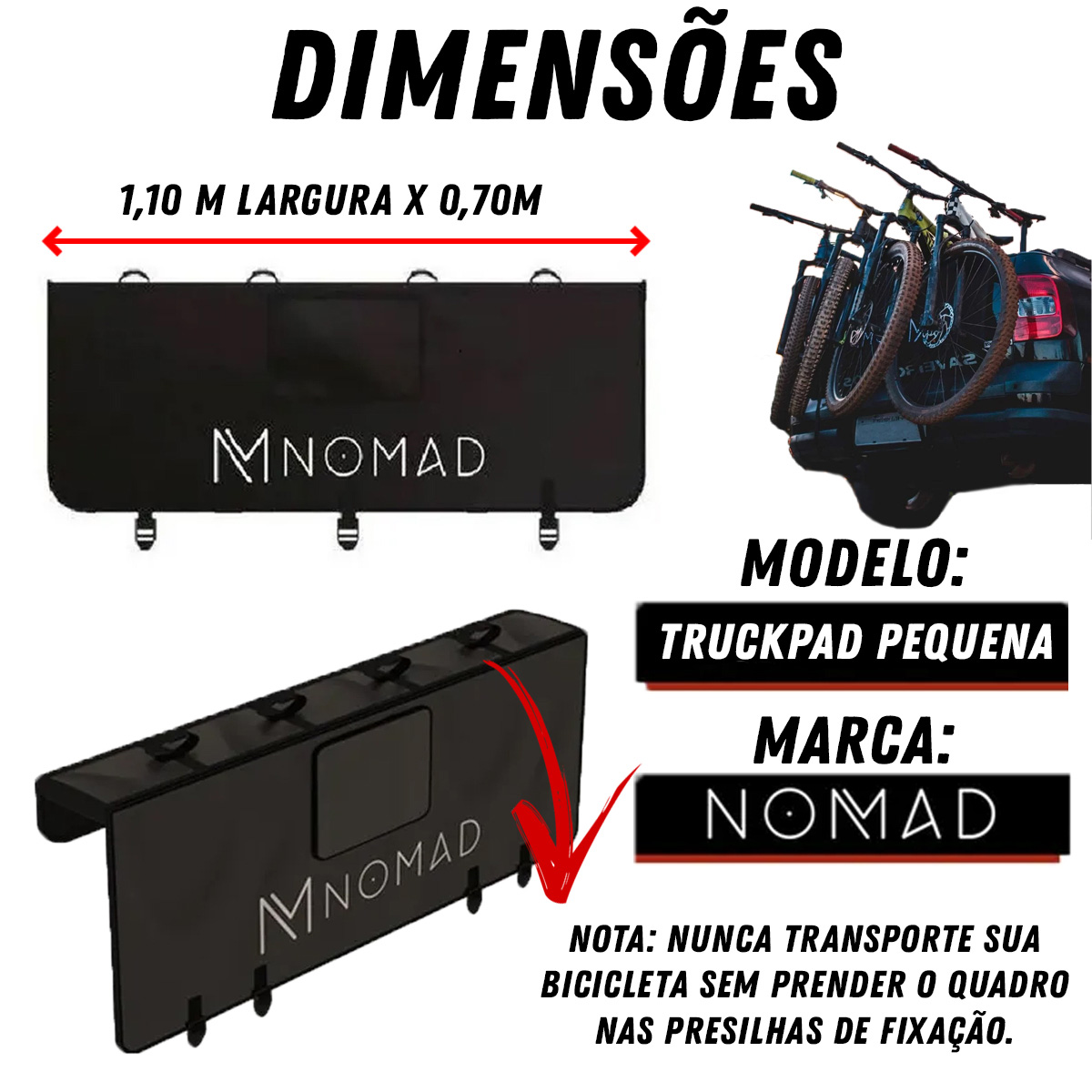 Truckpad Pequeno Nomad Transbike para até 4 Bicicletas Poliparts