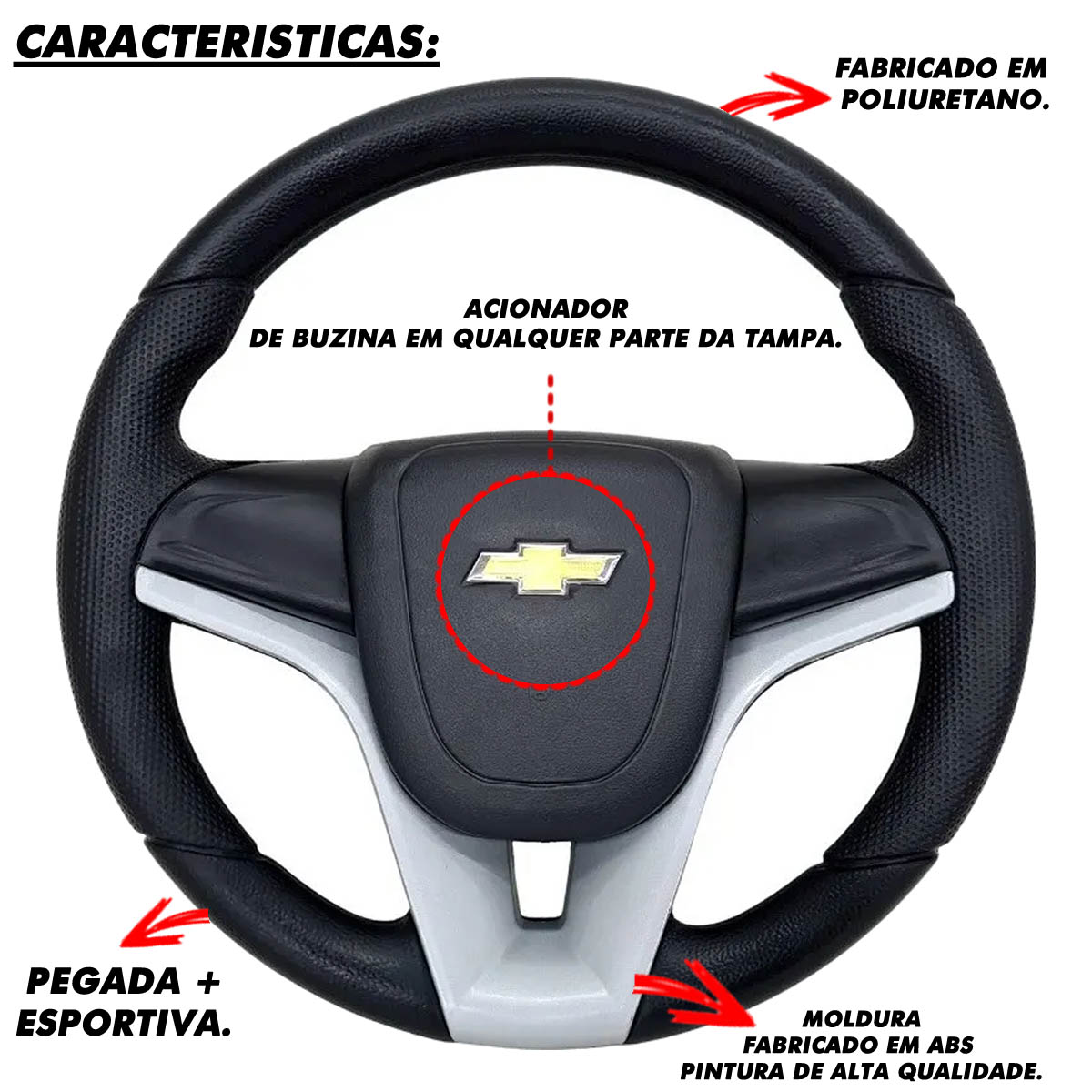 Volante Chevrolet de Camaro Esportivo Cubo S10 Blazer Silverado 1995 a 2013 Opala Chevette 1968 a 1998 Poliparts