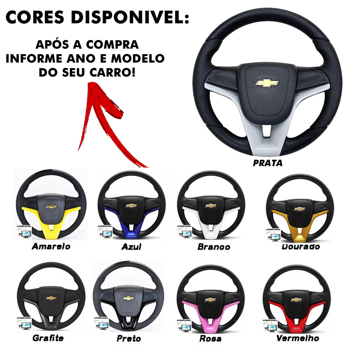 Volante Chevrolet do Cruze Esportivo Cubo Vectra Astra 1993 a 2011 Meriva Zafira 2000 a 2012 Poliparts