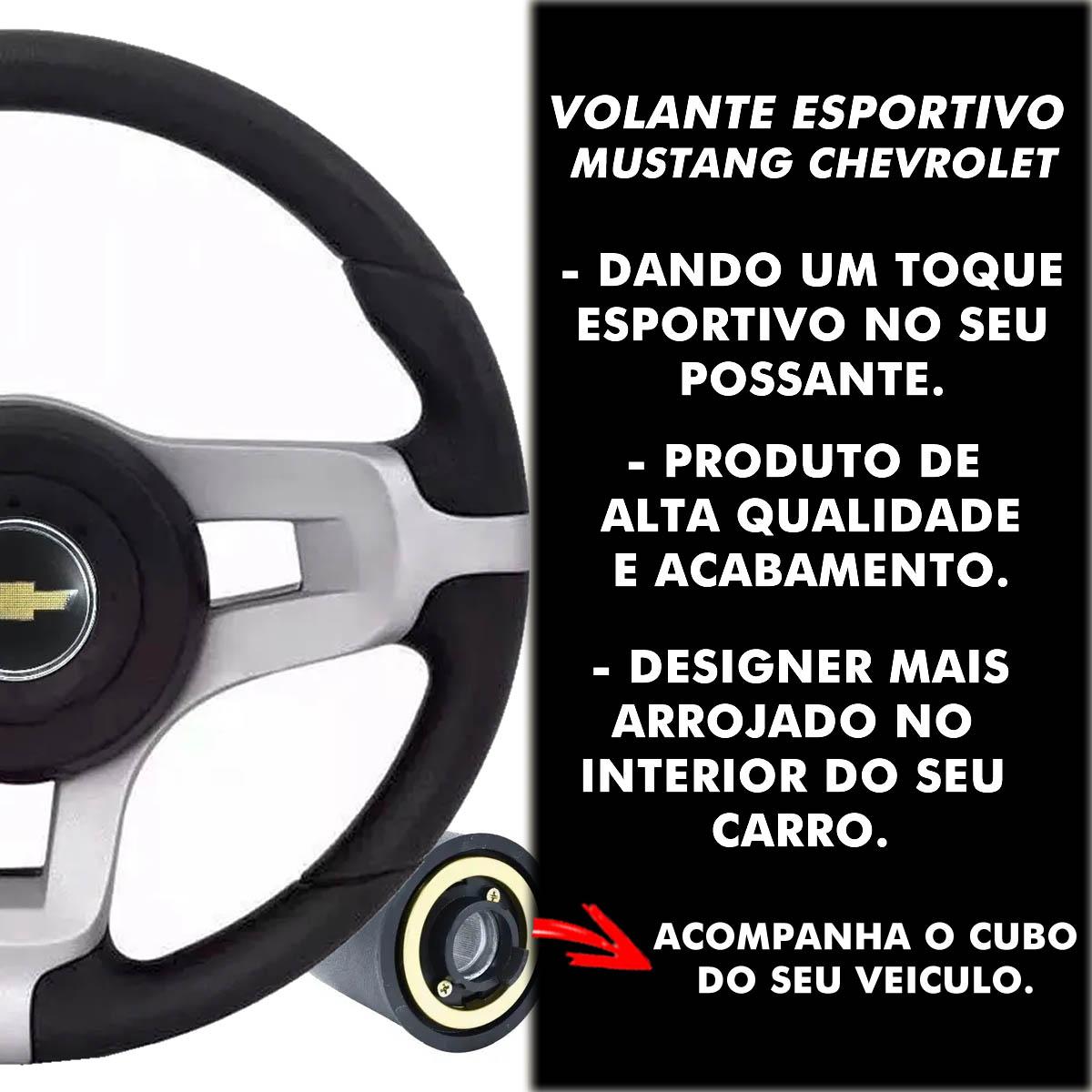 Volante Chevrolet Mustang Esportivo Cubo S10 Blazer Silverado 1995 a 2013 Opala Chevette 1968 a 1998 Poliparts