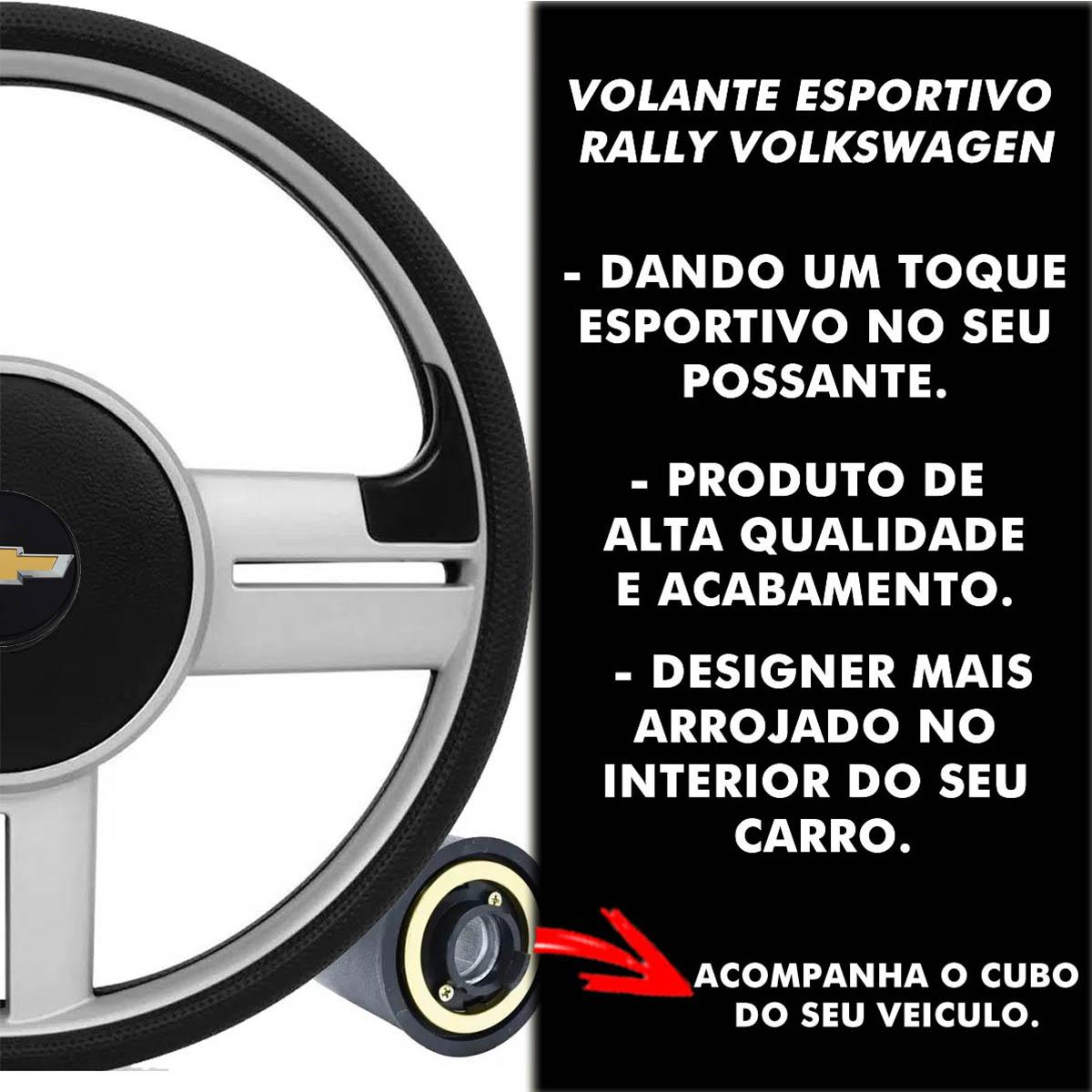 Volante Chevrolet Surf Rallye Esportivo Cubo da S10 Blazer Silverado 1995 a 2013 Opala Chevette 1968 a 1998 Poliparts