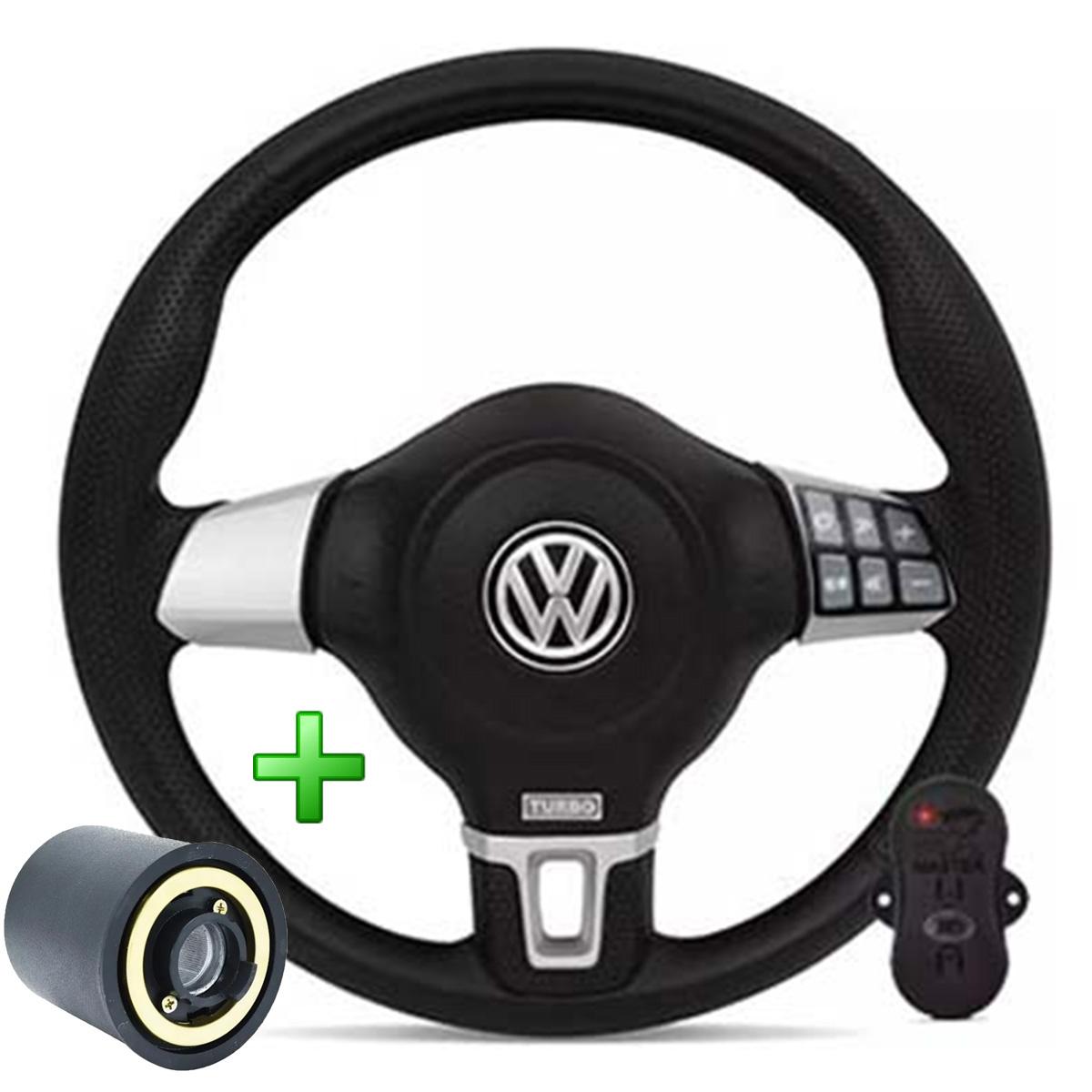 Volante Com Comando Volkswagen Jetta Redondo Esportivo Cubo Golf Saveiro Parati Fox Poliparts