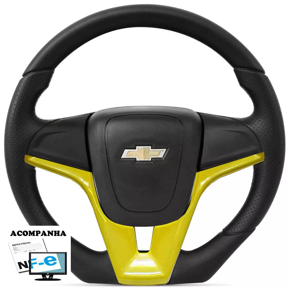 Volante Esportivo Corsa Joy Maxx Premium Astra Vectra Meriva Zafira Montana Cruze Camaro Chevrolet Base Reta Tampa Acionador de Buzina + Cubo Gm