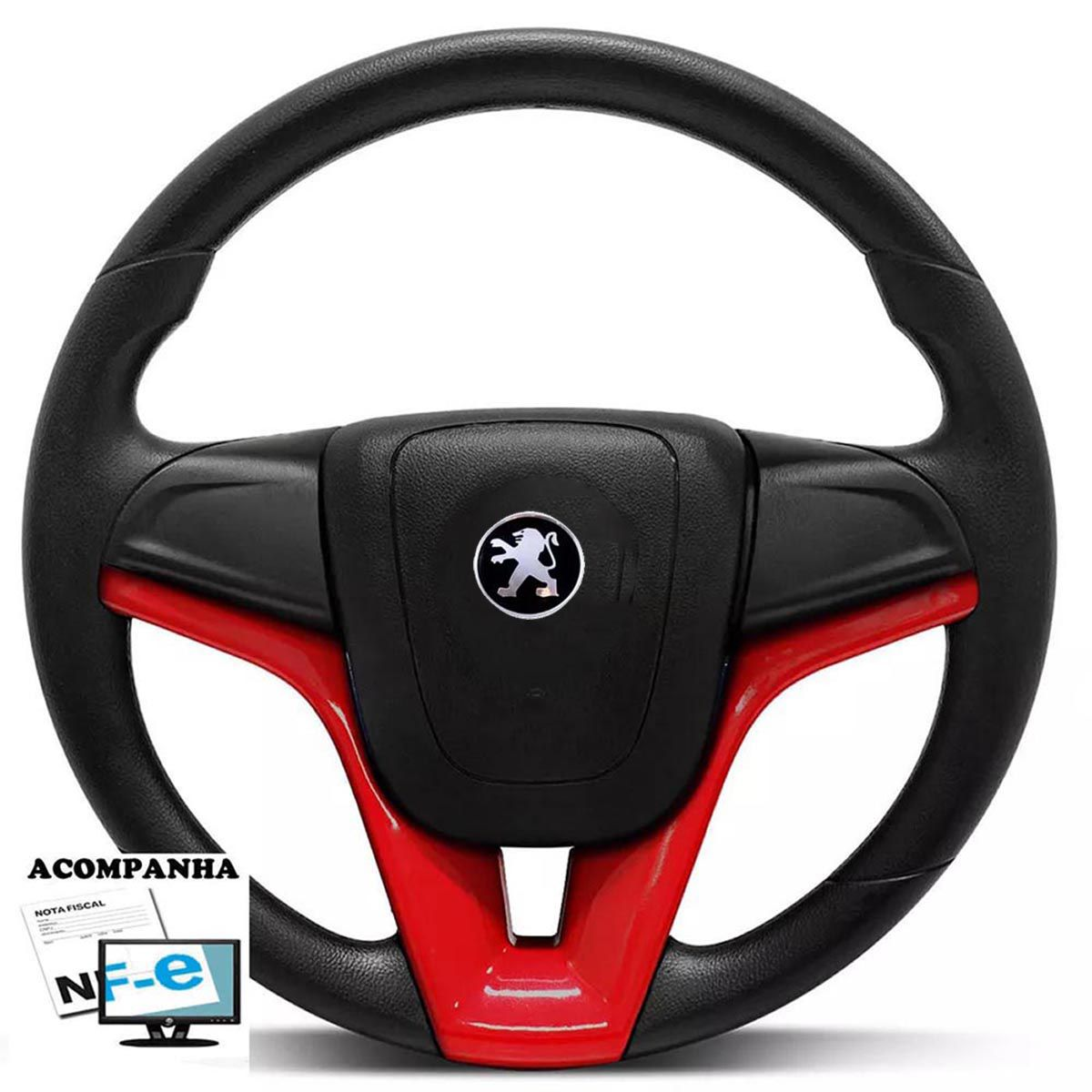 Volante Esportivo Cruze Peugeot 106 206 306 Sw Tampa Acionador de Buzina + Cubo