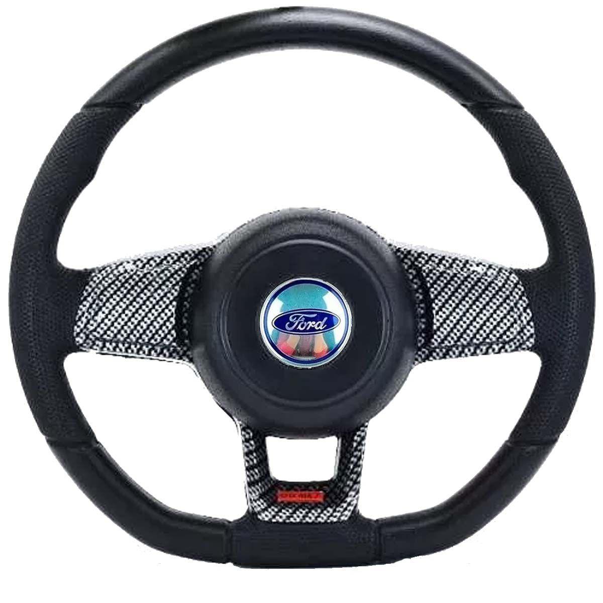 Volante Esportivo Golf GTI Mk7 Ford Ka Fiesta Escort Zetec Hobby Pampa F100 F1000 F75 F250 Verona Del Rey Belina Ecosport Logus Acionador de Buzina + Cubo