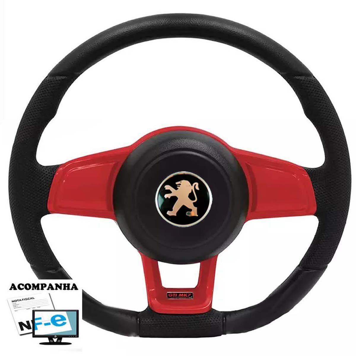 Volante Esportivo Golf GTI Mk7 Peugeot 106 206 306 Sw Tampa Acionador de Buzina + Cubo