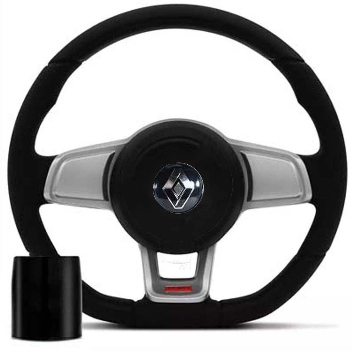 Volante Esportivo Golf GTI Mk7 Renault Clio Logan Sandero com Tampa Acionador de Buzina + Cubo