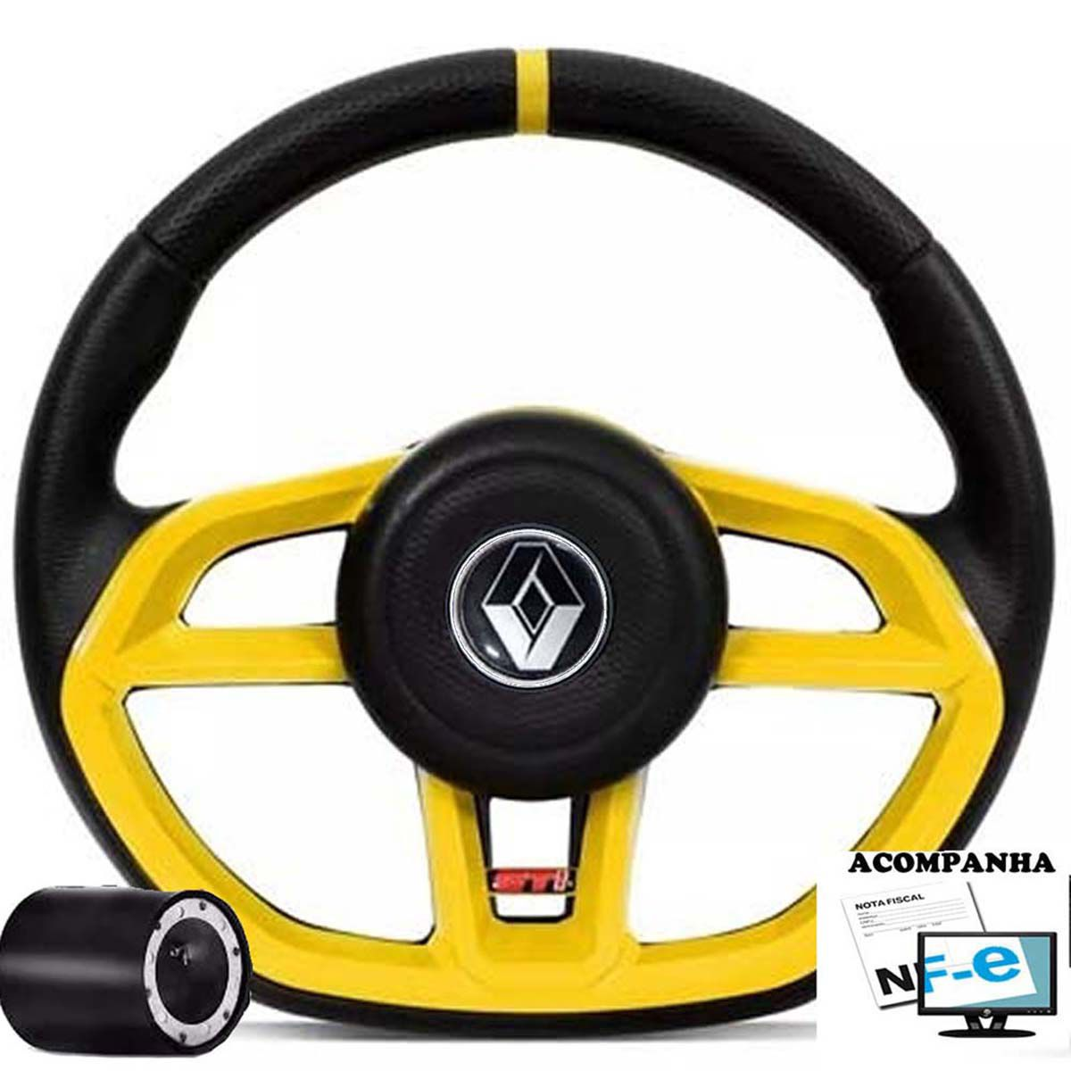 Volante Esportivo Gti Renault Clio Logan Sandero Acionador de Buzina + Cubo
