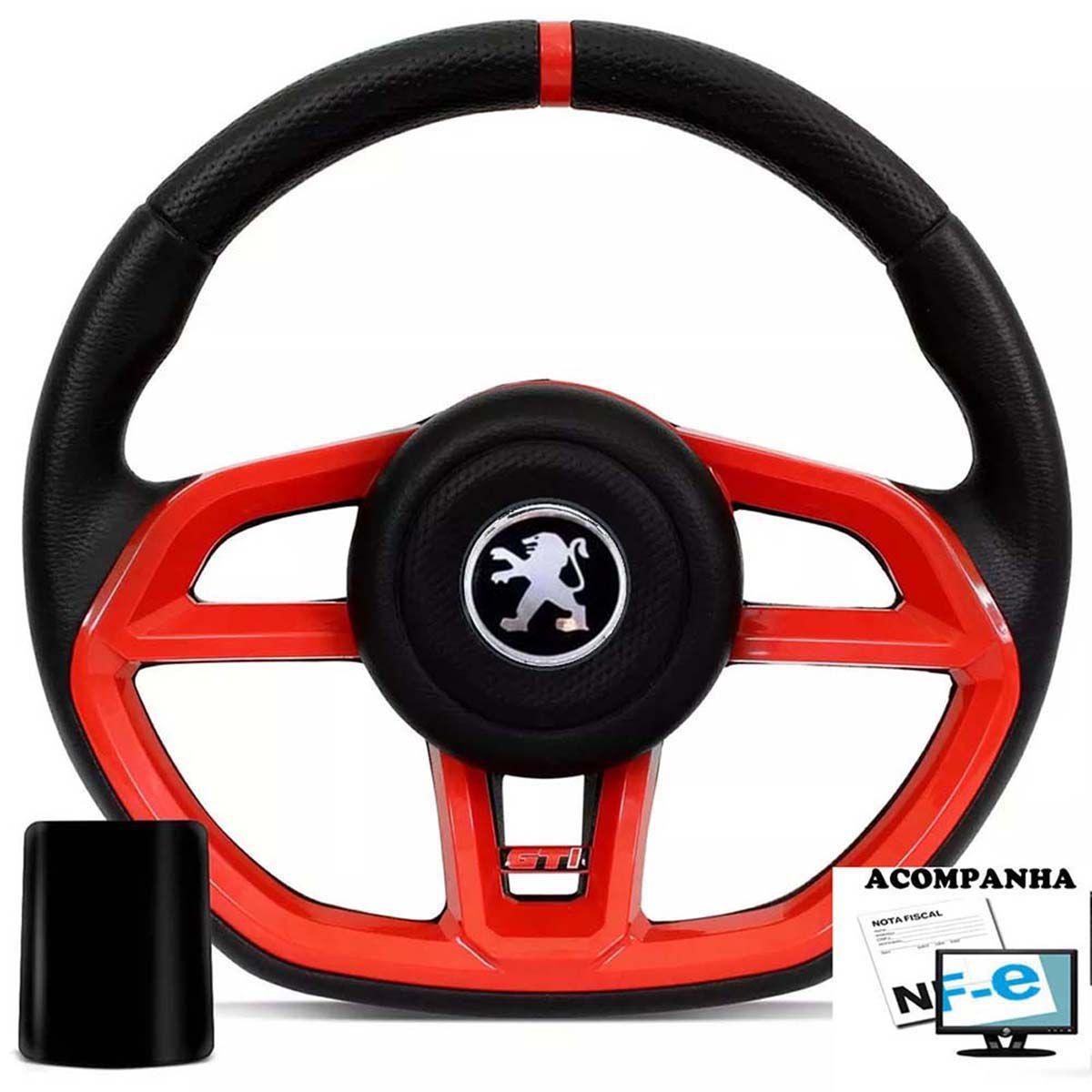 Volante Esportivo Gti Super Surf Peugeot 106 206 207 306 Sw Tampa Acionador de Buzina + Cubo