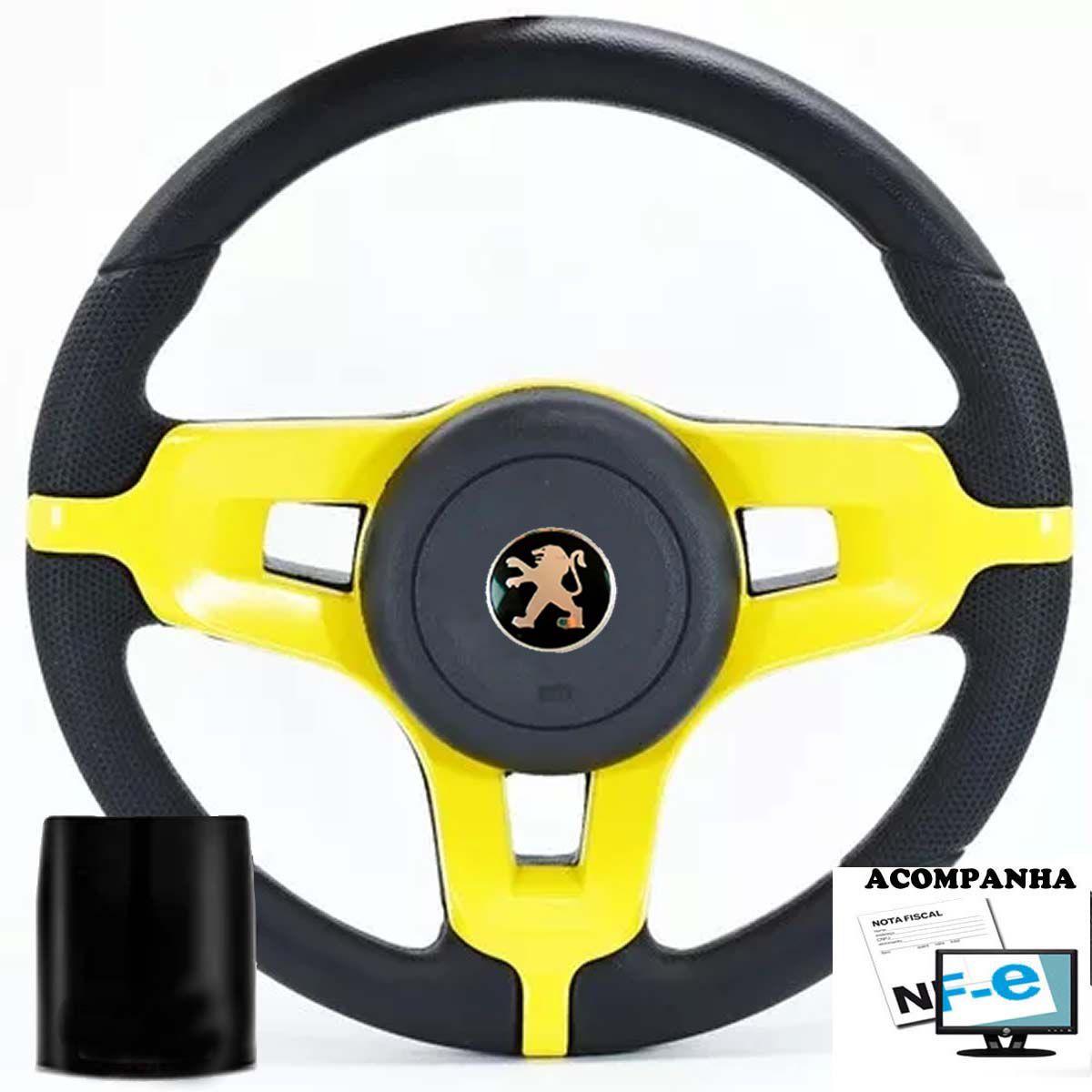 Volante Esportivo Mustang Peugeot 106 206 207 306 Sw Tampa Acionador de Buzina + Cubo