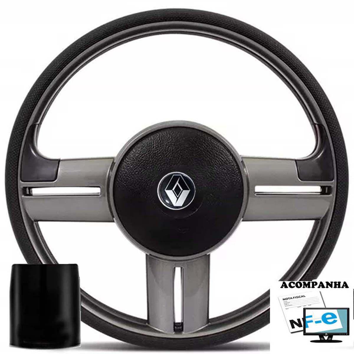 Volante Esportivo Rallye Renault Clio Logan Sandero Tampa Acionador de Buzina + Cubo