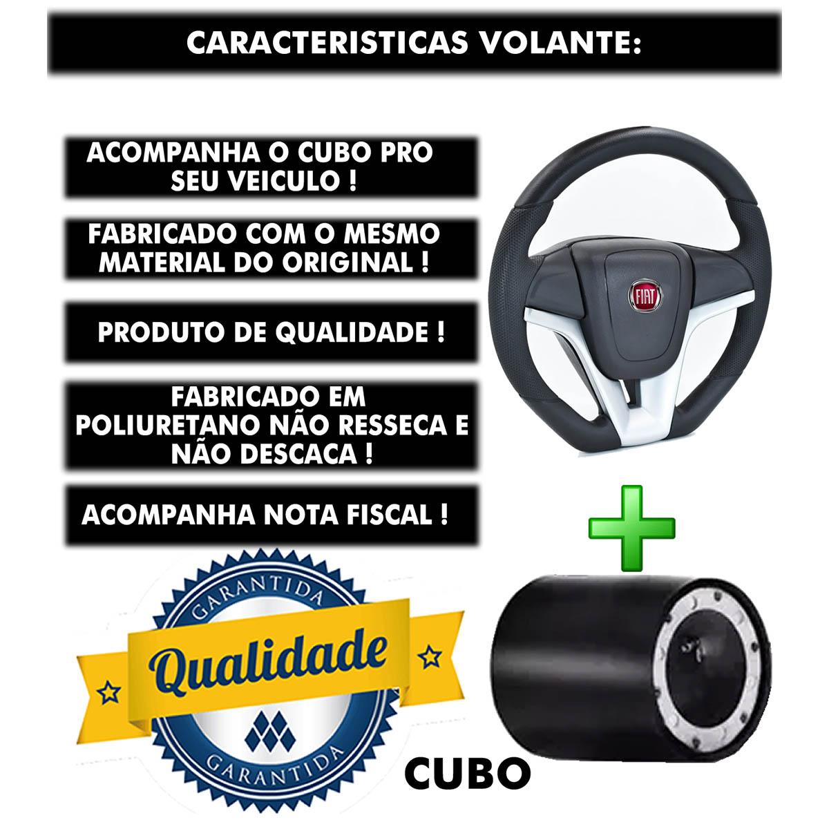 Volante Fiat Camaro Esportivo Cubo do Uno Fiorino Tempra Elba Premio 1985 a 2013 Poliparts