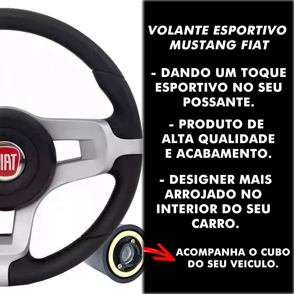 Volante Fiat Mustang Esportivo Cubo Palio Uno 1983 a 2013 Siena Strada Stilo Punto Idea Poliparts