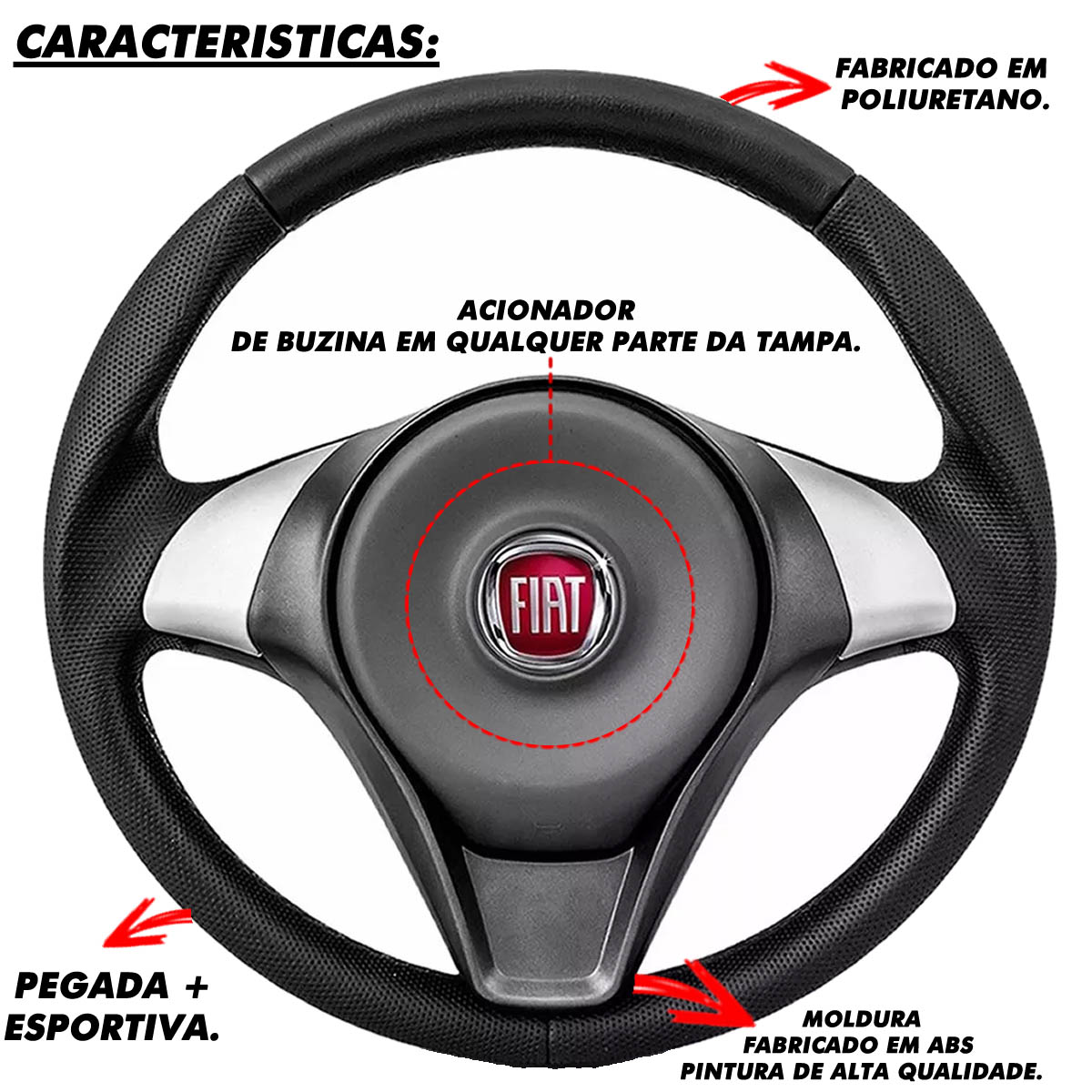 Volante Fiat Palio Sporting Esportivo Cubo Atacado Poliparts