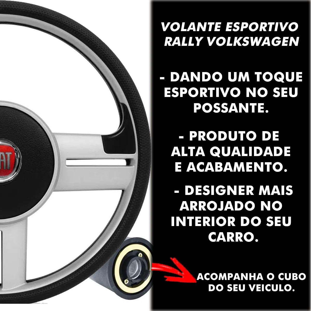 Volante Fiat Surf Rallye Esportivo Cubo Palio Uno 1983 a 2013 Strada Siena Punto Idea Stilo