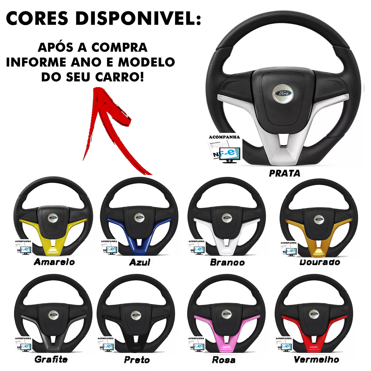 Volante Ford Camaro Esportivo Cubo Fiesta Ka Ecosport Escort Hobby Zetec F100 F1000 F75 F250 Poliparts