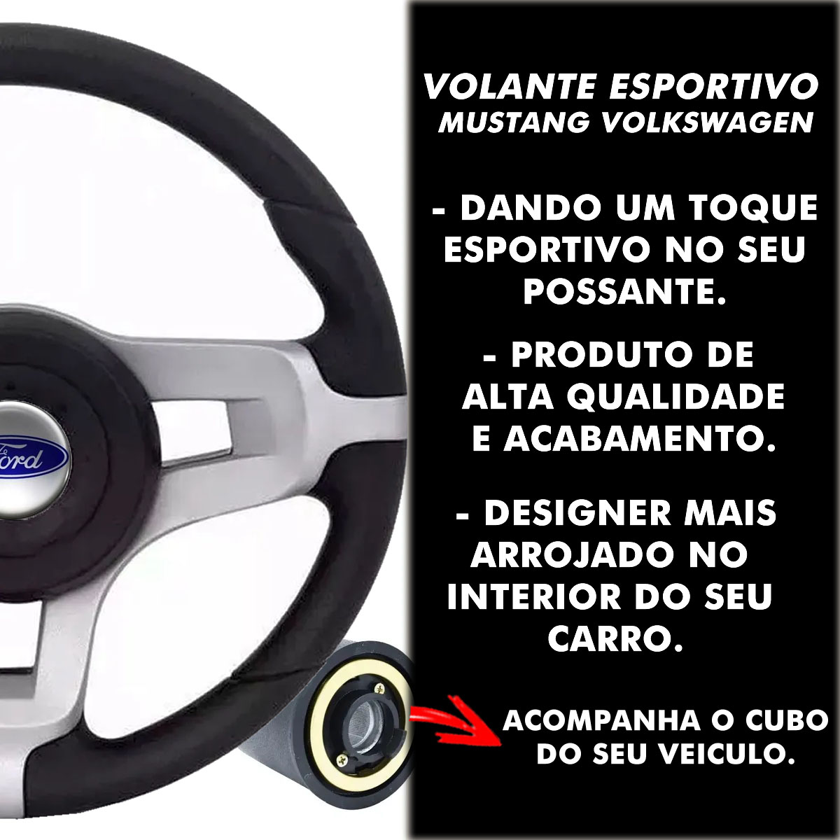 Volante Ford Mustang Esportivo Cubo Fiesta Ka Ecosport Escort Hobby Zete F100 F1000 F75 F250 Poliparts