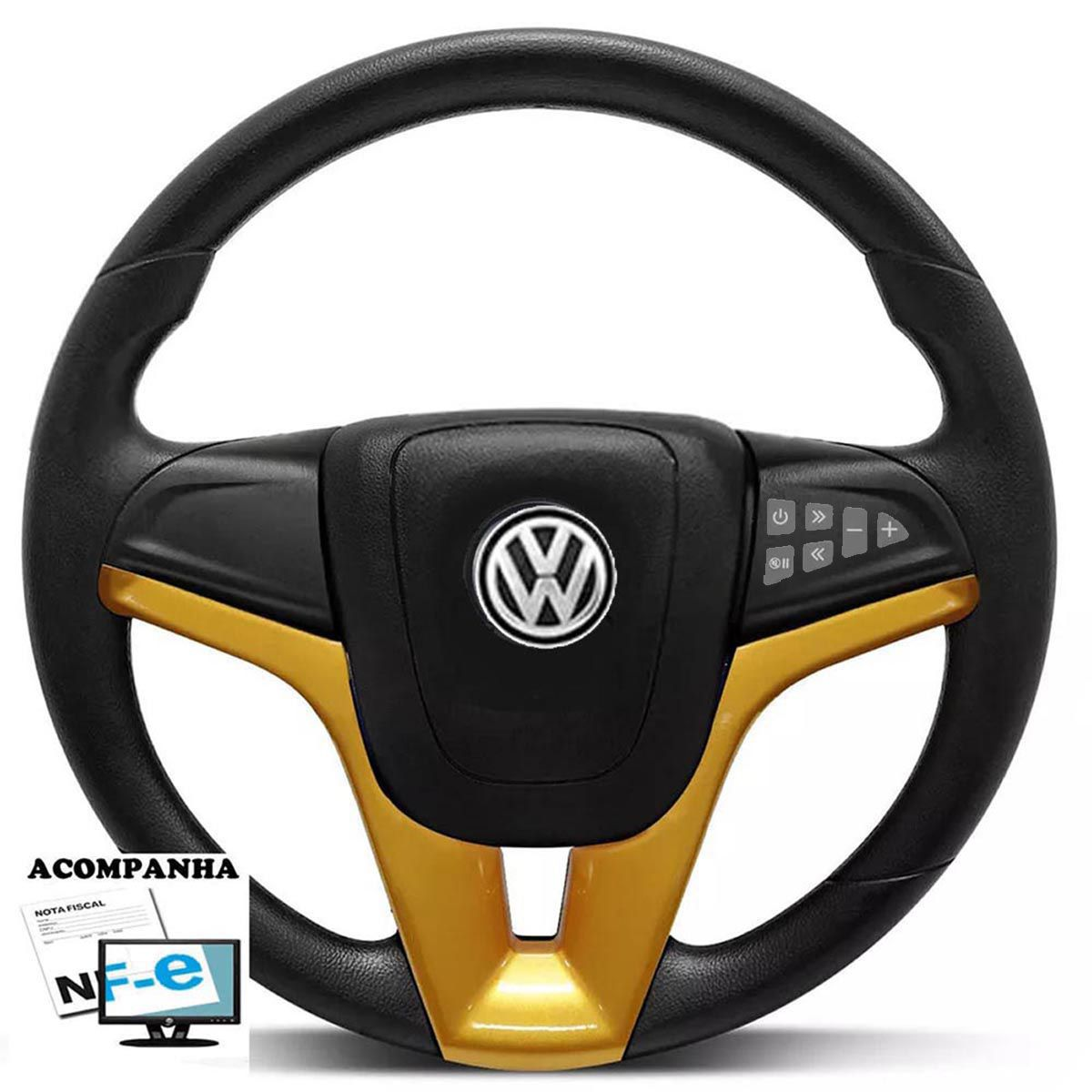 Volante Multifuncional Cruze Gol Parati Saveiro Voyagen G1 G2 G3 G4 G5 Golf Fusca Brasilia Polo Kombi Santana Passat Volkswagen + Cubo Vw