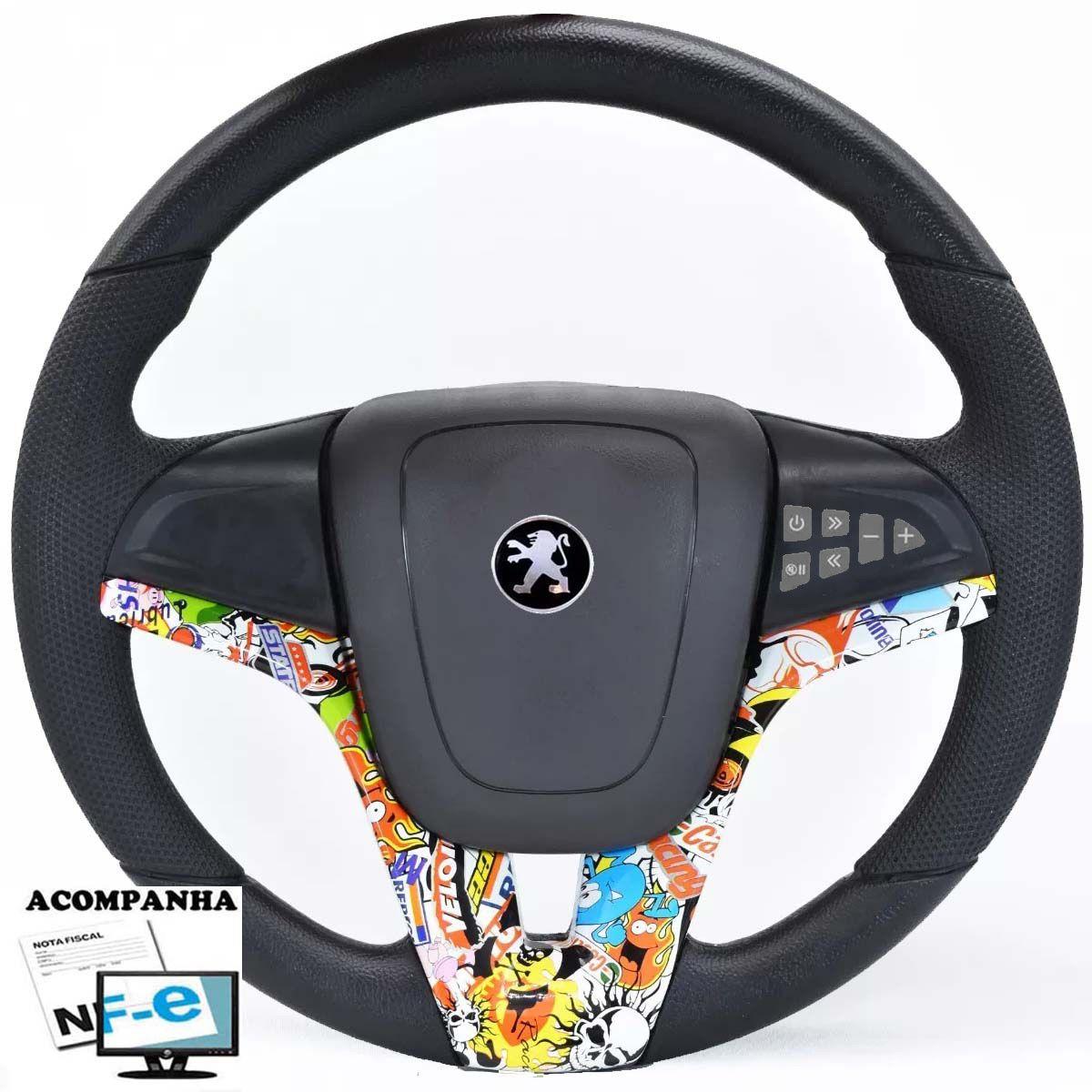 Volante Multifuncional Cruze Peugeot 106 206 306 Sw Tampa Acionador de Buzina + Cubo