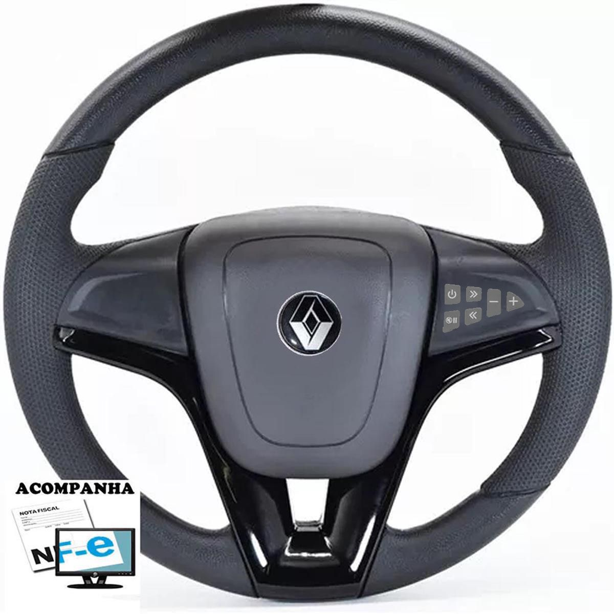 Volante Multifuncional Cruze Renault Clio Logan Sandero Automotivo com Tampa Acionador de Buzina + Cubo