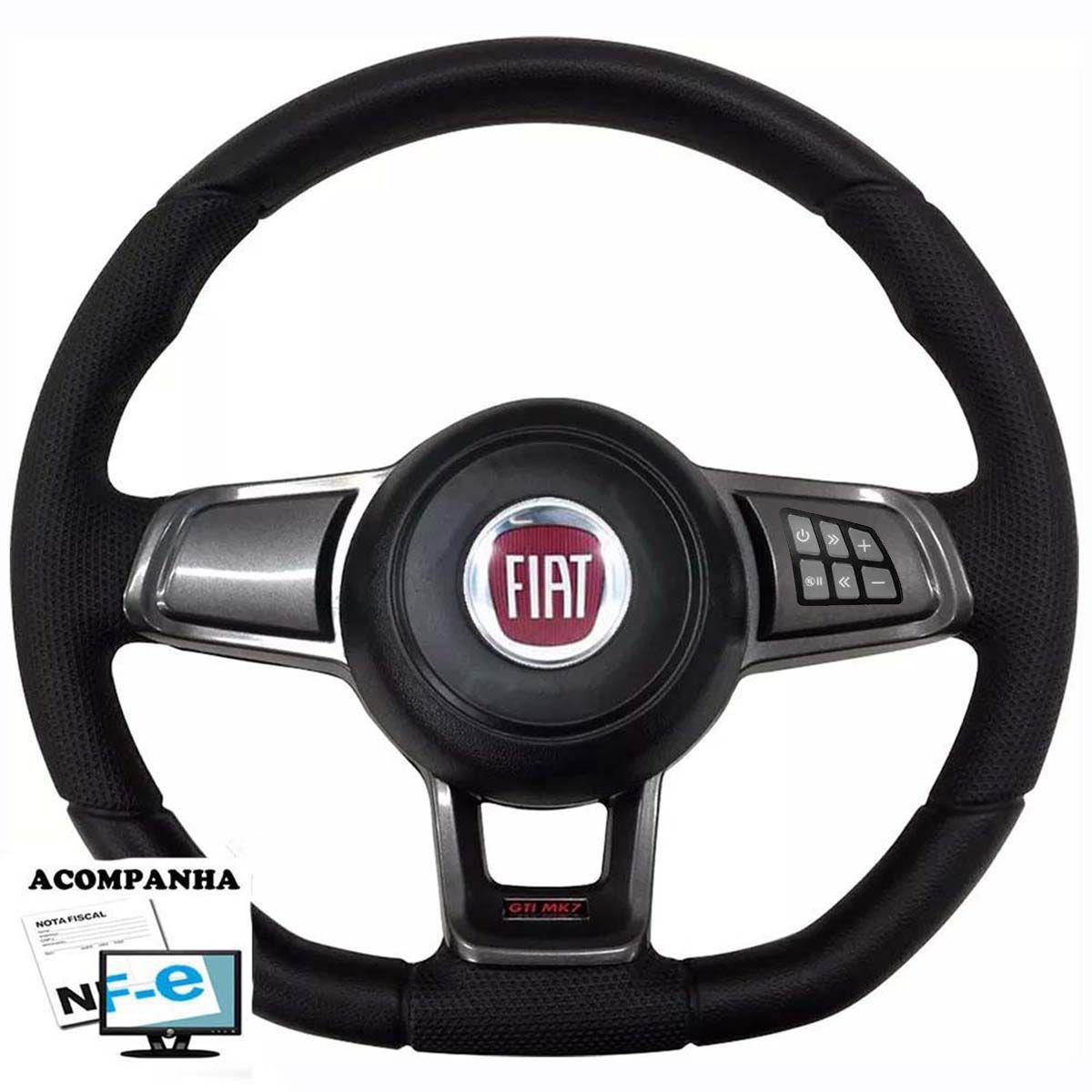 Volante Multifuncional Golf GTI Mk7 Fiat 147 Palio Uno Mille Fire Way Vivace Fiorino Elba Panorama Premio Tempra Marea Bravo Idea Somtilo Strada Aciondor de Buzina + Cubo