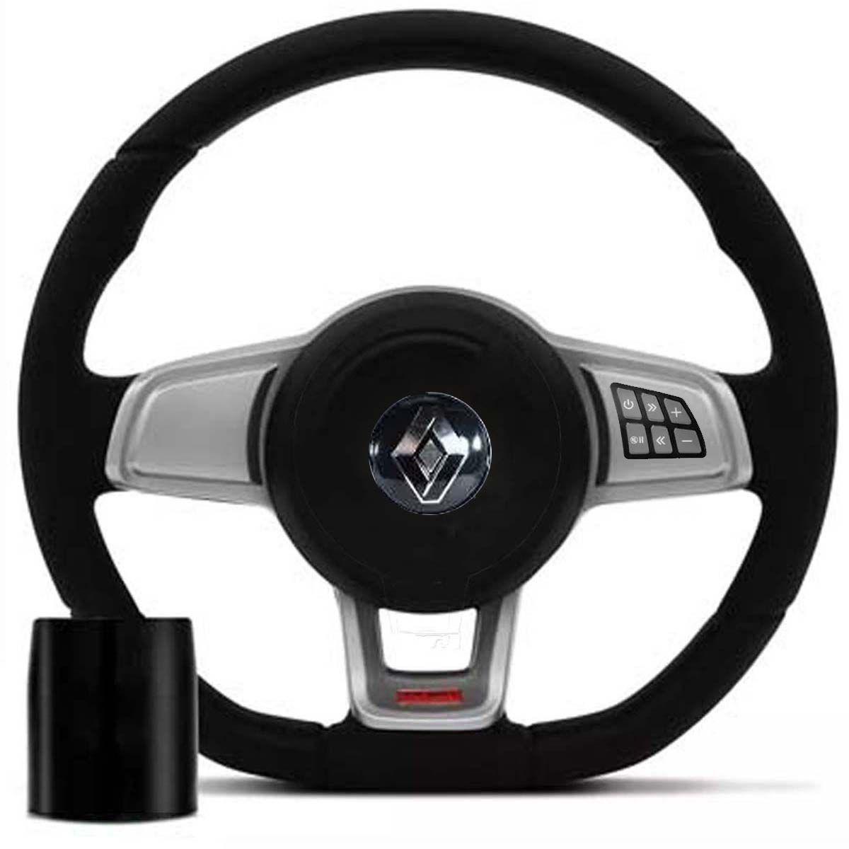 Volante Multifuncional Golf Gti Mk7 Renault Clio Logan Sandero Automotivo com Tampa Acionador de Buzina + Cubo