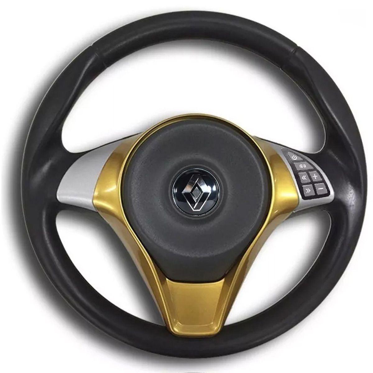 Volante Multifuncional Palio Sporting Renault Clio Logan Sandero Automotivo com Tampa Acionador de Buzina + Cubo