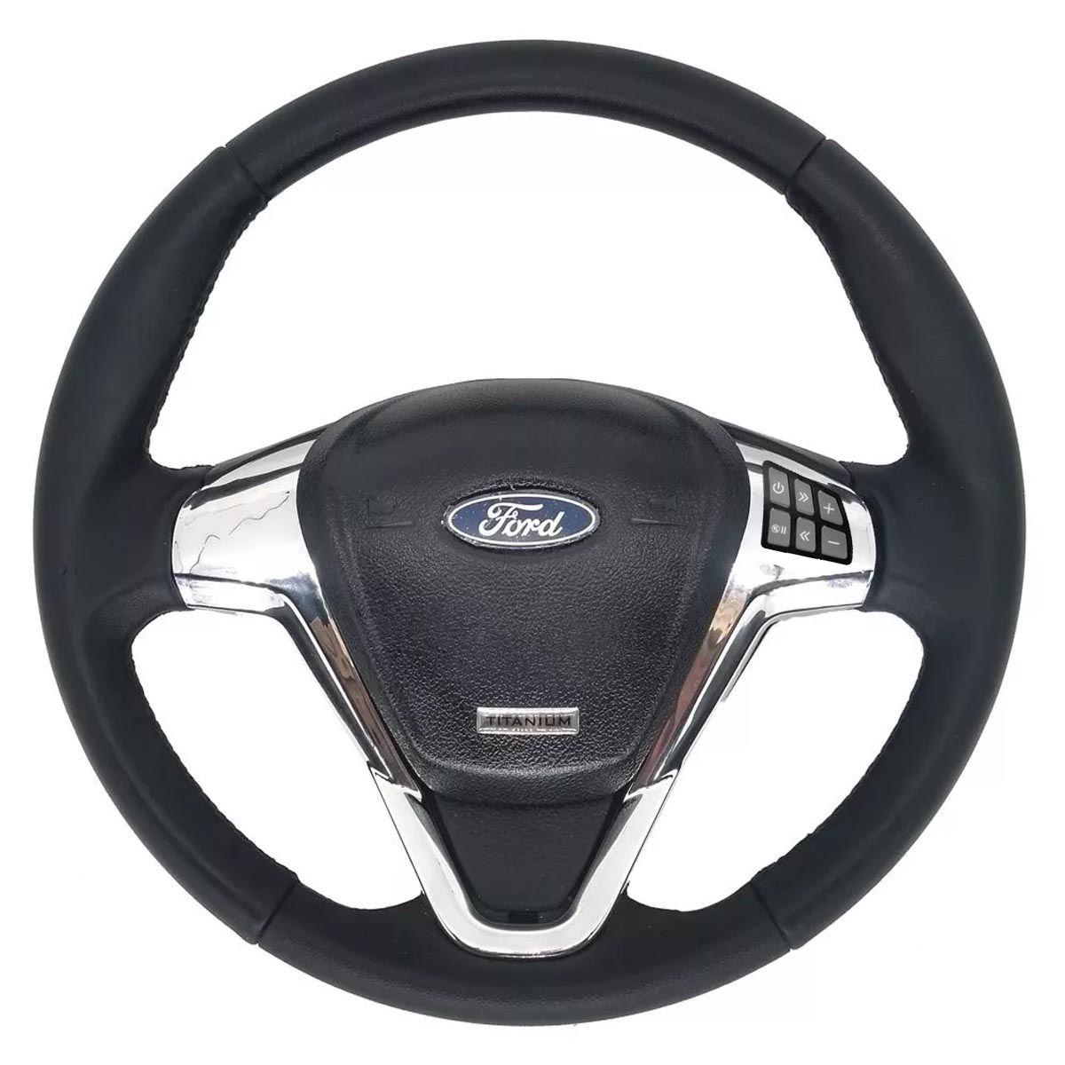 Volante Multifuncional Titanium Escort Zetec Fiesta Ka Ecosport Courier Ford com Tampa Acionador de Buzina