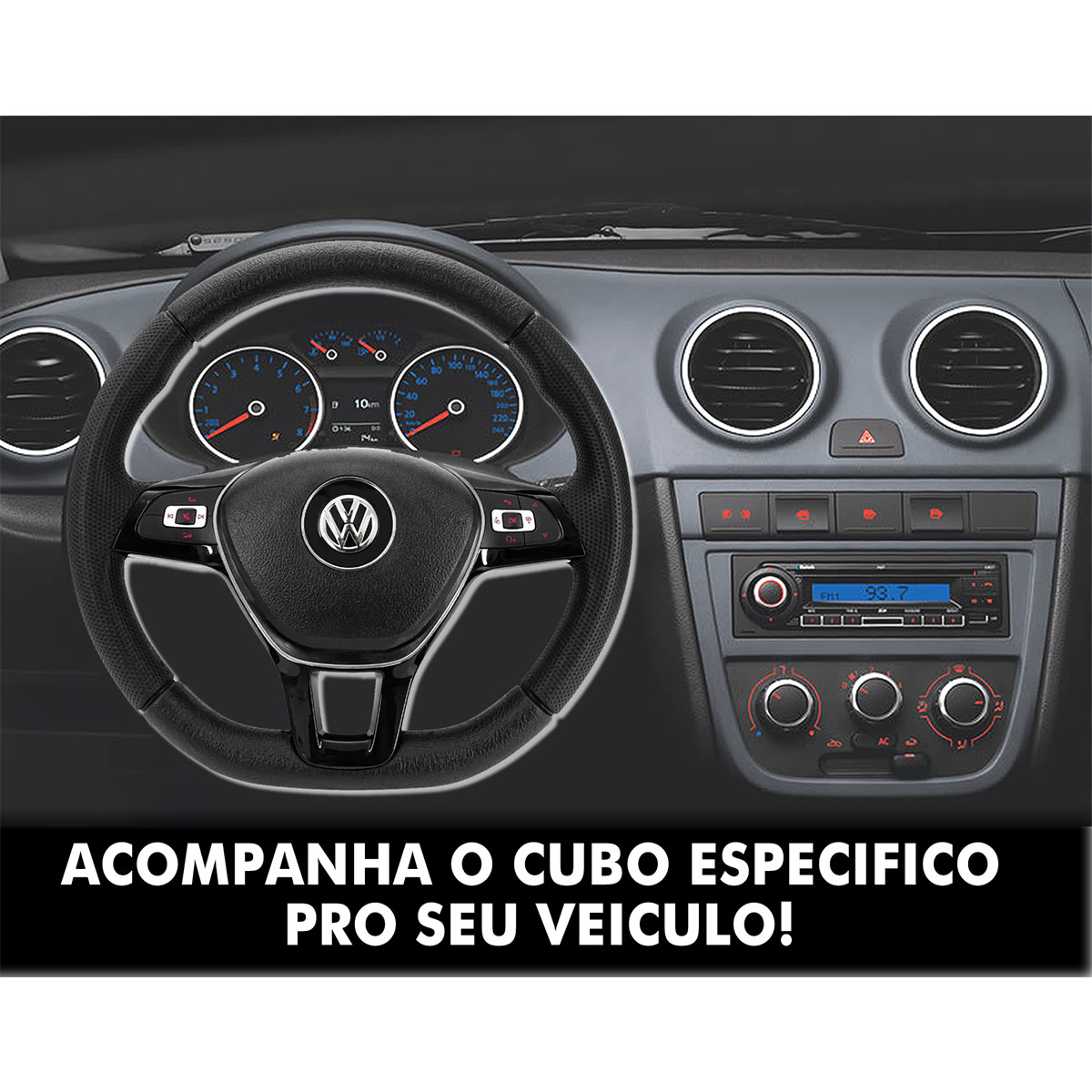 Volante Multifuncional Volkswagen G7 Esportivo Cubo Gol Quadrado G2 G3 G4 G5 1980 a 2013 Poliparts
