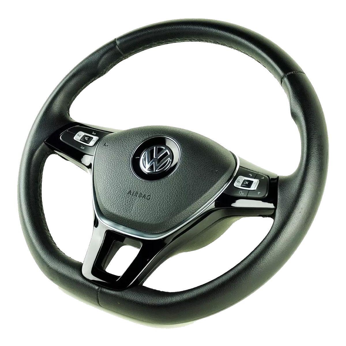 Volante Multifuncional Gti Mk7 G7 Tsi Gol G2 G3 G4 G5 G6 Saveiro Parati Santana Voyage Fox Golf Comandos Controle de Som Led Tampa Acionador de Buzina + Cubo Volkswagen
