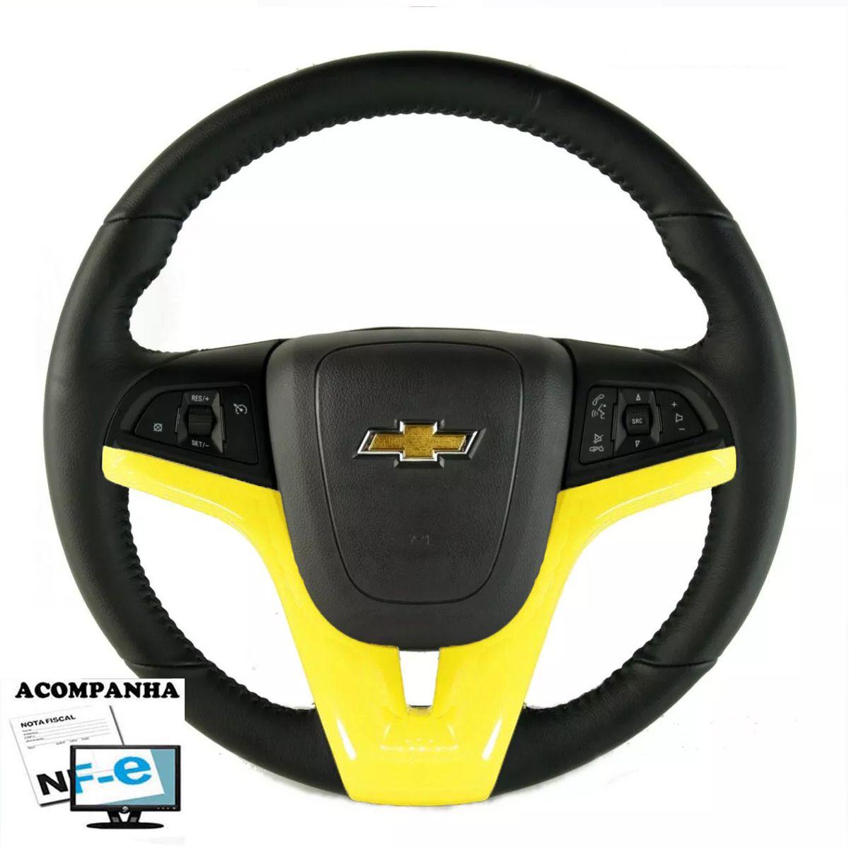 Volante Original Onix Couro Multifuncional Spin Cobalt Prisma Onix Cruze Sonic Comandos e Led Laranja no Volante Chevrolet Tampa Acionado de Buzina e Cubo Gm