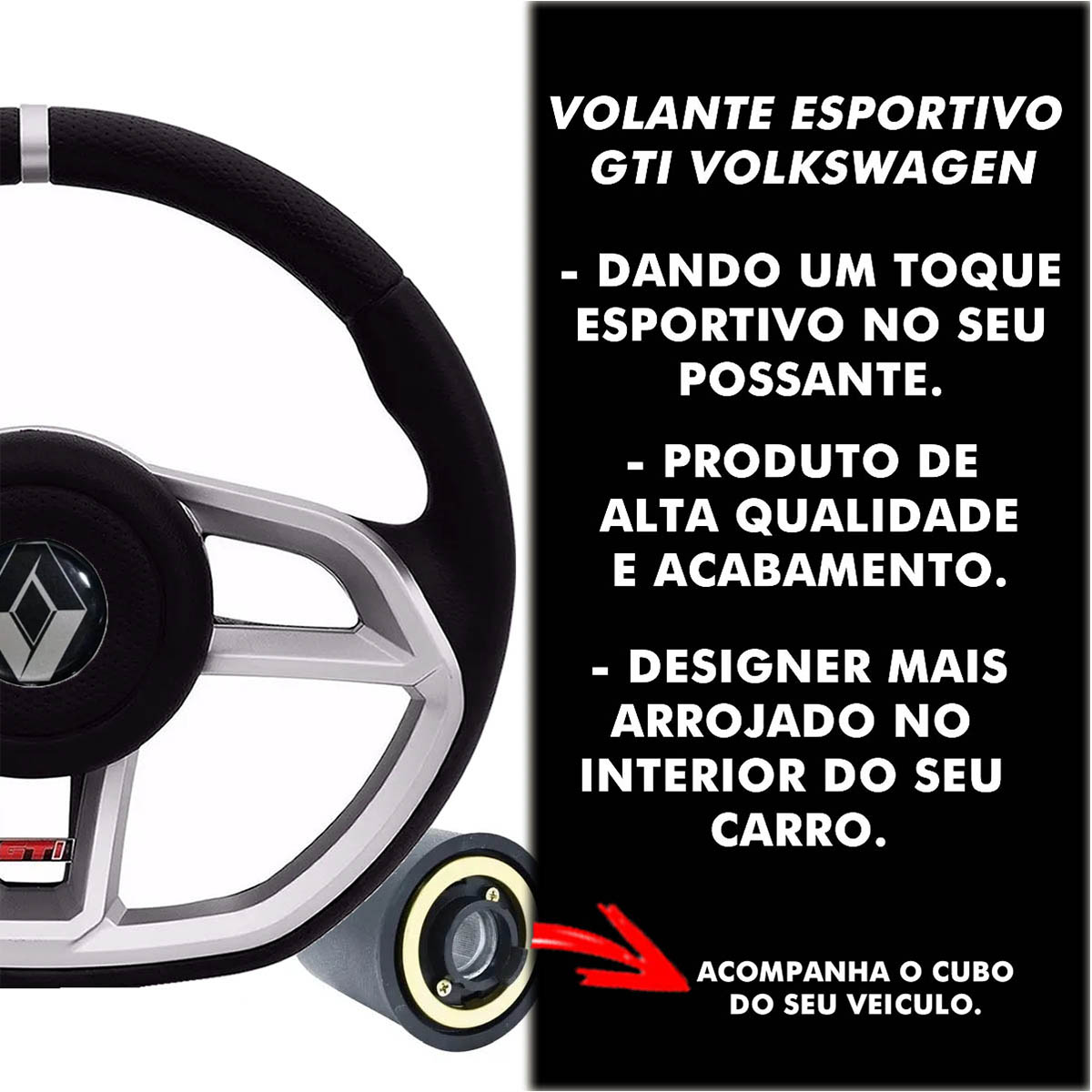 Volante Renault Gti Esportivo Cubo Sandero Clio Logan Megane Poliparts