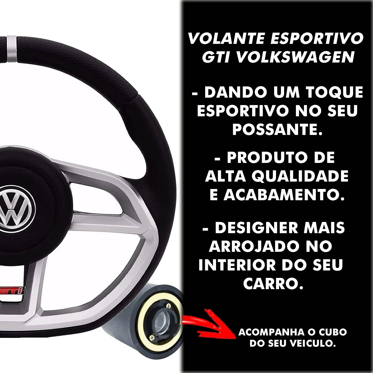 Volante Volkswagen Gti Esportivo Cubo do Gol Quadrado 1980 a 1996 G2 G3 G4 G5 G6 1994 a 2013 Poliparts