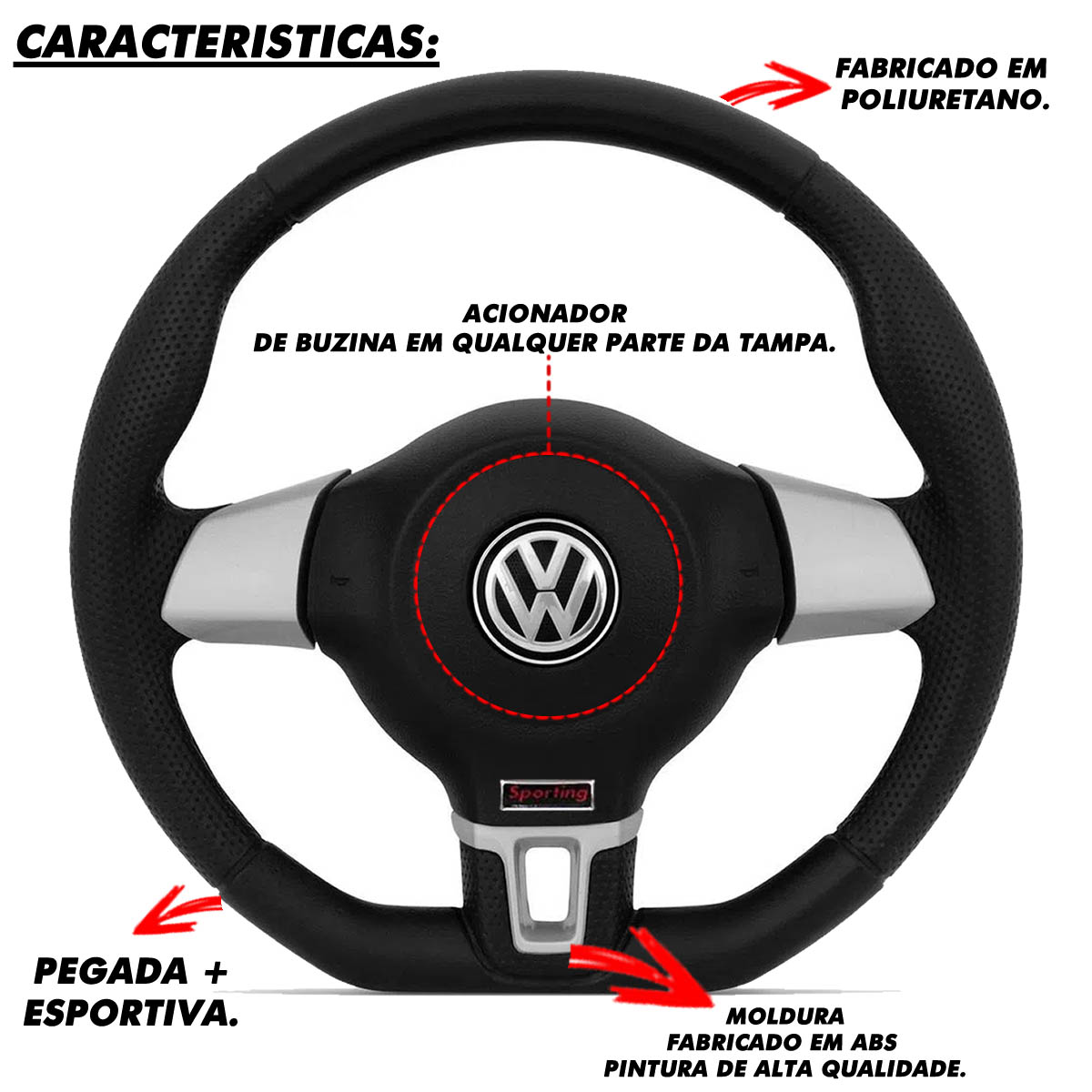 Volante Volkswagen Jetta Base Reta Esportivo Cubo Gol 1980 a 2013 Golf 1999 a 2013 Saveiro Parati 1982 a 2013 Poliparts