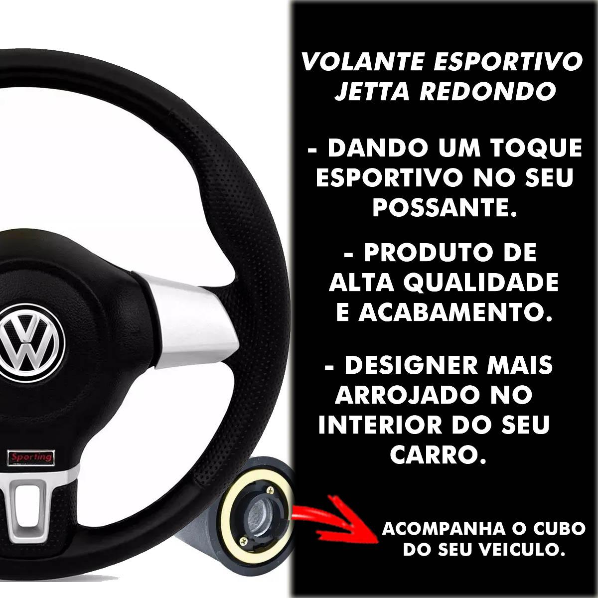 Volante Volkswagen Jetta Redondo Esportivo Cubo Atacado Poliparts