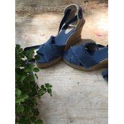 Sandália Salto Anabela Lona Azul Simone