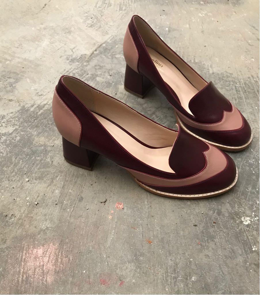 Sapato Pelica Vinho e Rosê