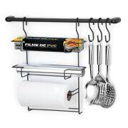 Cook Home 6 Black Suporte de Parede p/ Utensílios e Porta Rolos Papel Alumínio Plastico- Arthi