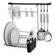 Cook Home 8 Black Suporte de Utensílios c/ Escorredor  e Ganchos - Arthi